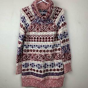Free People Knit Crochet Striped Sweater Tunic